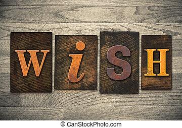 legno, desiderio, concetto, tipo, letterpress