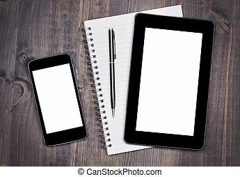 legno, desktop, miscelare, penna, quaderno, tavola
