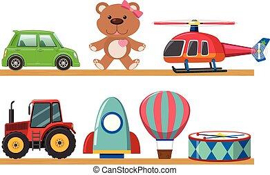 legno, differente, giocattoli, tipi, mensole