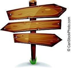 legno, direzione, palo, frecce, segni