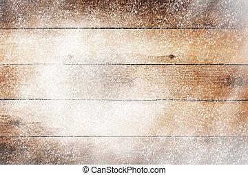 legno, disegno, vecchio, neve, fondo