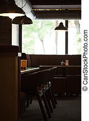 legno, divano, interno, caffè, vuoto, mobilia