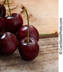 legno, dolce, ciliegie, vecchio, fondo.