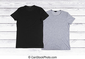 legno, due, fondo, vuoto, bianco,  T-shirts