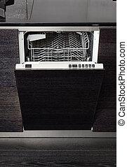 legno duro, macchina, nero, lavatore piatto, aperto, cucina