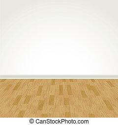 legno duro, parete, vettore, vuoto, pavimento