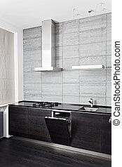 legno duro, parte, nero, lavatore piatto, build-in, cucina