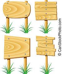 legno, elementi, erba