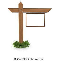 legno, erba, cartello
