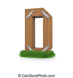 legno, erba, d, lettera