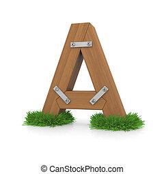 legno, erba, lettera