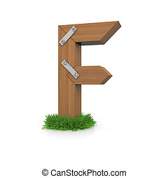 legno, erba, lettera f