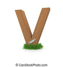 legno, erba, lettera, v