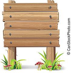 legno, erba, mushroom., segno