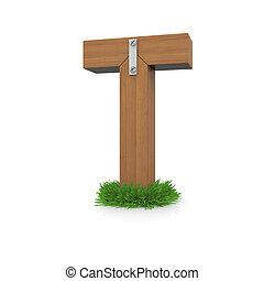 legno, erba, t, lettera