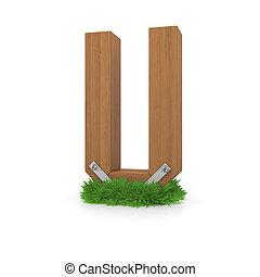 legno, erba, u, lettera