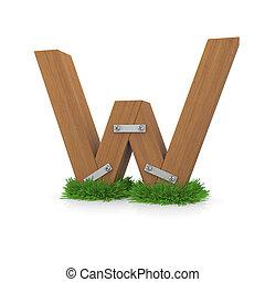 legno, erba, w, lettera