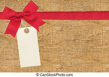 legno, etichetta, nastro, fondo, rosso