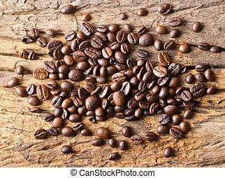 legno, fagioli caffè, fondo