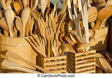 legno, fatto mano, posate