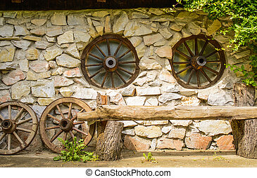 legno, fattoria, fronte, panca