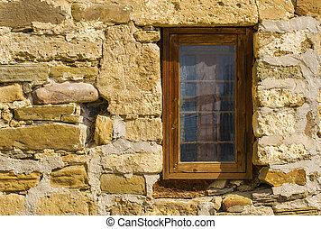 Pietra vecchio panca legno parete finestra sotto blocco pietra vecchio panca legno - Panca sotto finestra ...