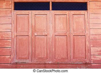 legno, finestra, rosso