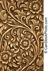 legno, fiore, intagliato