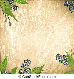 legno, fiori, fondo
