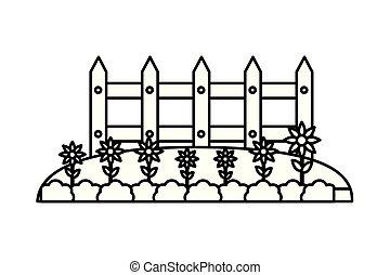 legno, fiori, giardino, recinto