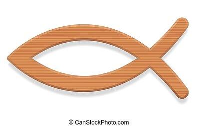 legno, fish, cristiano, simbolo, textured