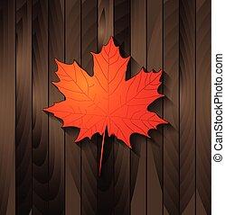 legno, foglia autunno, acero, fondo