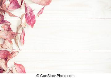 legno, foglie, autunno, fondo., brillante rosso