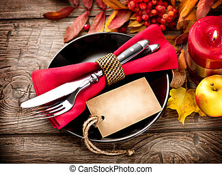 legno, foglie, ringraziamento, autunno, luminoso, servito, tavola, decorato