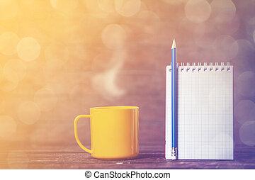 legno, fondo., caffè, quaderno, tazza
