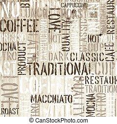legno, fondo., caffè, vettore, parole