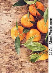 legno, fondo., mandarini, vecchio