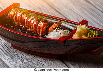 legno, fondo., sushi, barca