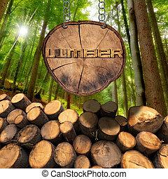 legno, foresta, legname, registrare, segno