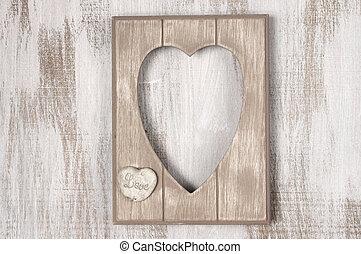 legno, forma cuore, cornice