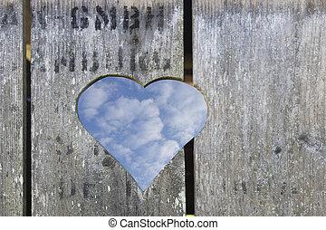 legno, forma cuore, porta
