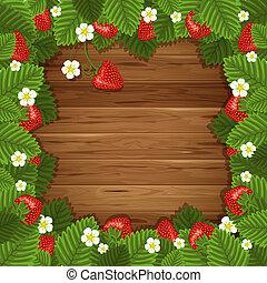 legno, fragola, fondo