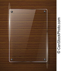legno, framework., illustrazione, vetro, vettore, struttura