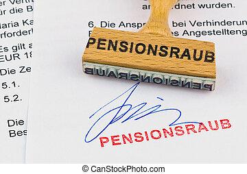 legno, francobollo, document:, pensione, furto