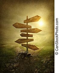 legno, frecce, segno strada