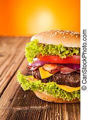legno, fresco, hamburger, assi