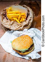 legno, frigge, hamburger, tavola