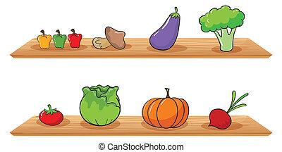 legno, frutte, mensole