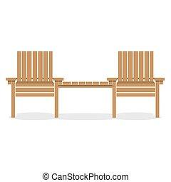legno, giardino, sedie, con, tavola.