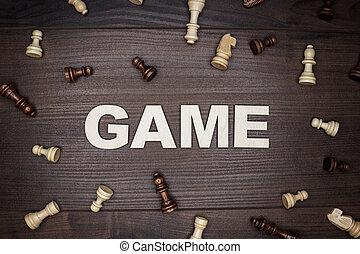 legno, gioco, concetto, fondo